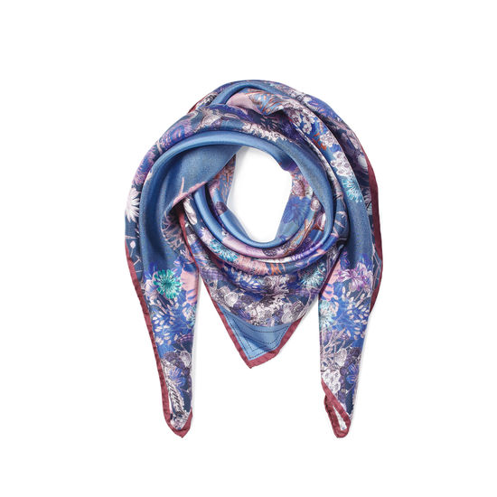 Ombre 'A' Floral Silk Scarf in Midnight Blue from Aspinal of London