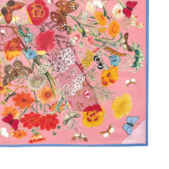 Botanical 'A' Silk Scarf in Dusky Pink from Aspinal of London