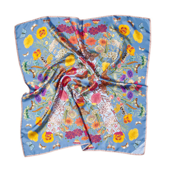 Botanical 'A' Silk Scarf in Bluebird from Aspinal of London
