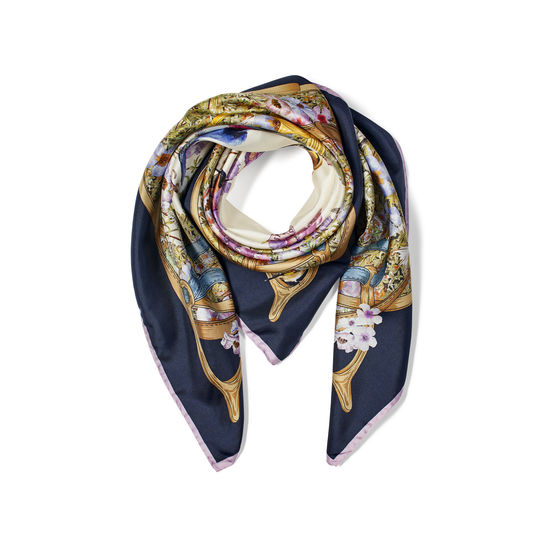 Edwardian Garden Silk Scarf in Navy Pure Silk Twill from Aspinal of London