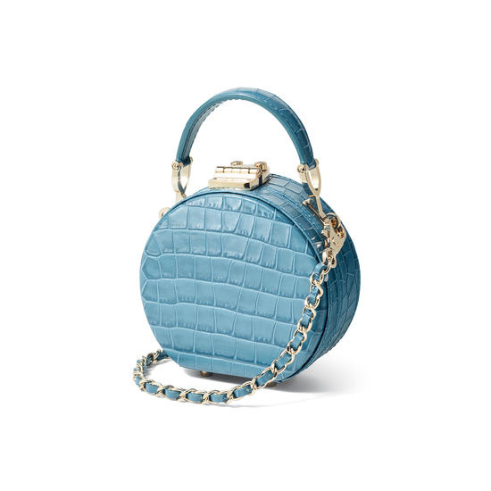 Micro Hat Box in Deep Shine Cornflower Small Croc from Aspinal of London