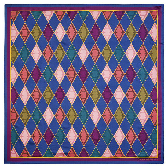 Aspinal Harlequin Silk Scarf in Multi-coloured Pure Silk Twill from Aspinal of London