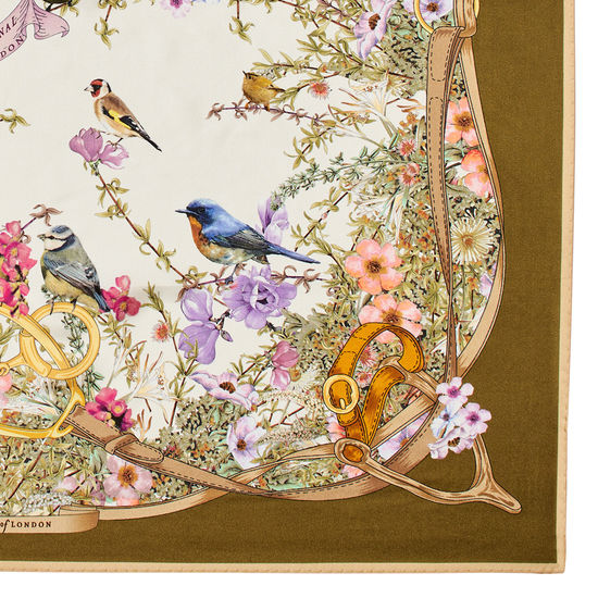 Edwardian Garden Silk Scarf in Olive Pure Silk Twill from Aspinal of London
