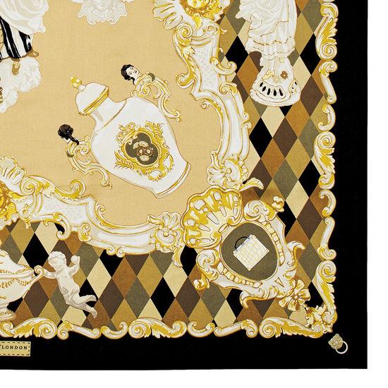 Harlequin Cherub Silk Scarf in Neutral Pure Silk Twill from Aspinal of London