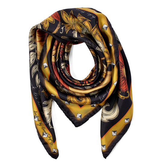 Lion & Peacock Silk Scarf in Black & Gold from Aspinal of London