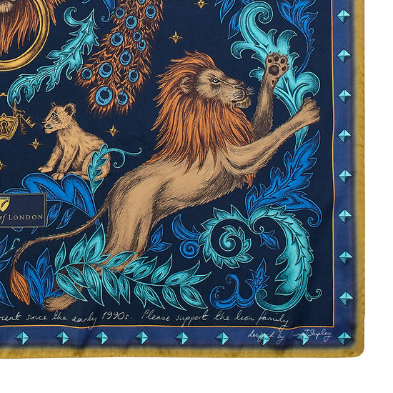 Lion & Peacock Silk Scarf in Teal & Navy from Aspinal of London
