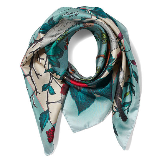 Robin Silk Scarf in Teal from Aspinal of London