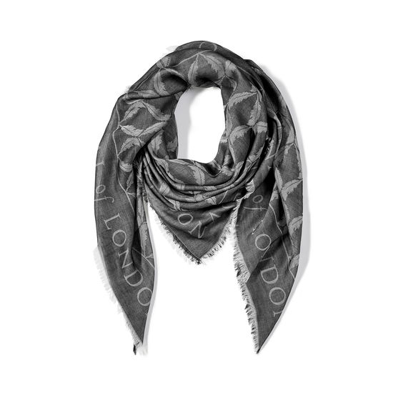 Harlequin Print Jacquard Scarf in Monochrome from Aspinal of London