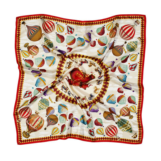 Hot Air Balloon Silk Scarf in Red Pure Silk Twill from Aspinal of London