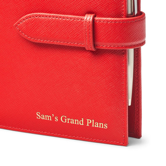 Compact Personal Organiser in Scarlet Saffiano & Navy Suede from Aspinal of London