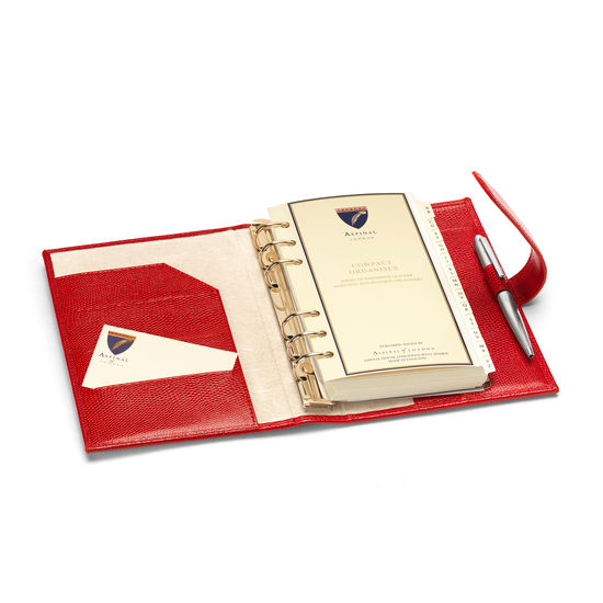 Compact Personal Organiser in Berry Lizard & Cream Suede from Aspinal of London
