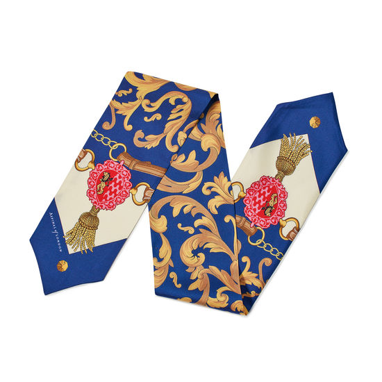 Signature Shield Silk Neck Bow Scarf in Blue from Aspinal of London