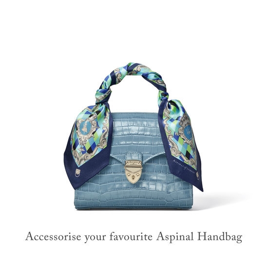 Harlequin Cherub Neck Bow Scarf in Blue Pure Silk Twill from Aspinal of London