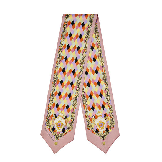 Harlequin Cherub Neck Bow Scarf in Pastel Pink Silk Twill from Aspinal of London