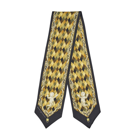 Harlequin Cherub Neck Bow Scarf in Neutral Pure Silk Twill from Aspinal of London