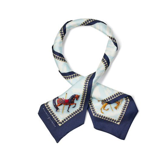 Hot Air Balloon Neck Bow Scarf in Navy Silk Twill from Aspinal of London