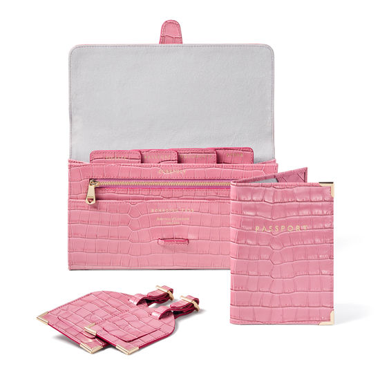 Travel Collection with Removable Inserts in Deep Shine Tea Rose Small Croc from Aspinal of London