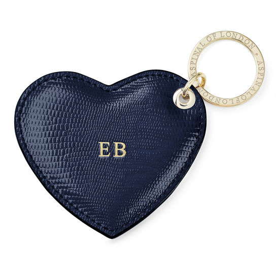 Heart Key Ring in Midnight Blue Silk Lizard from Aspinal of London
