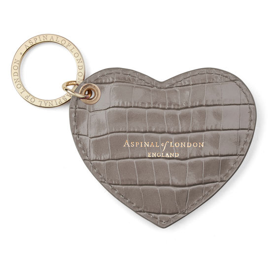 Heart Key Ring in Deep Shine Warm Grey Small Croc from Aspinal of London