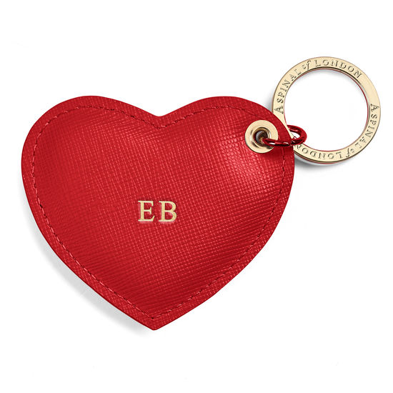 Heart Key Ring in Scarlet Saffiano from Aspinal of London