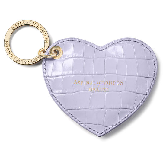 Heart Key Ring in Deep Shine English Lavender Small Croc from Aspinal of London