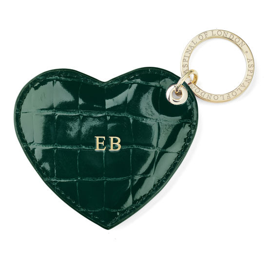 Heart Key Ring in Evergreen Patent Croc from Aspinal of London