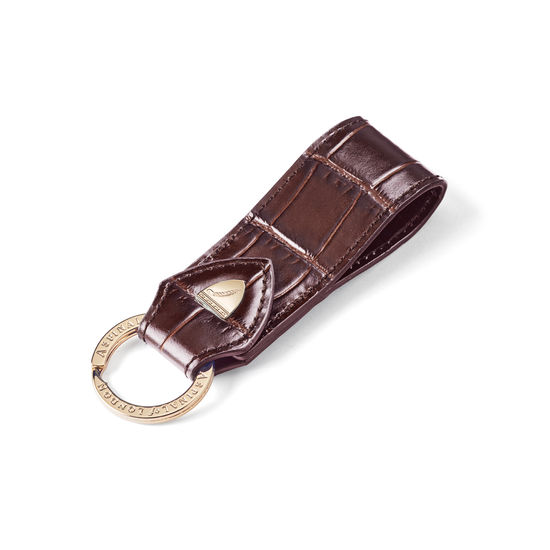Small Leather Loop Keyring in Deep Shine Amazon Brown Croc from Aspinal of London