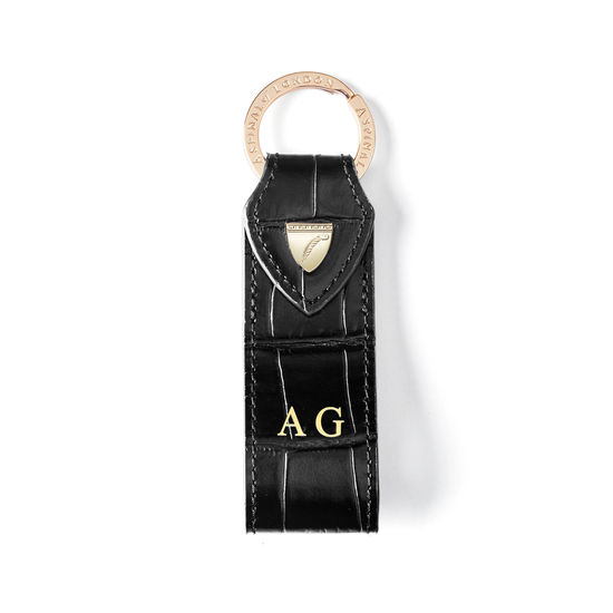 Small Leather Loop Keyring in Deep Shine Black Croc from Aspinal of London