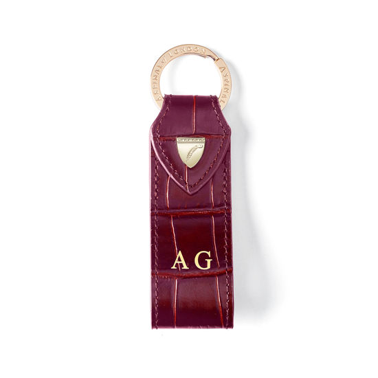 Small Leather Loop Keyring in Deep Shine Bordeaux Croc from Aspinal of London