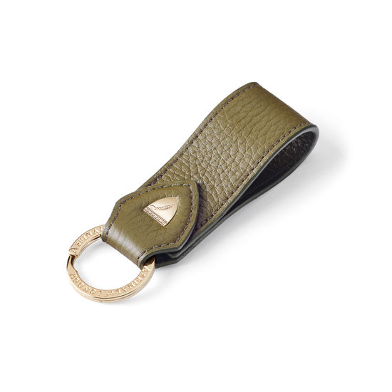 Small Leather Loop Keyring in Olive Pebble from Aspinal of London