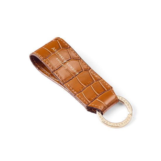 Small Leather Loop Keyring in Deep Shine Vintage Tan Small Croc from Aspinal of London