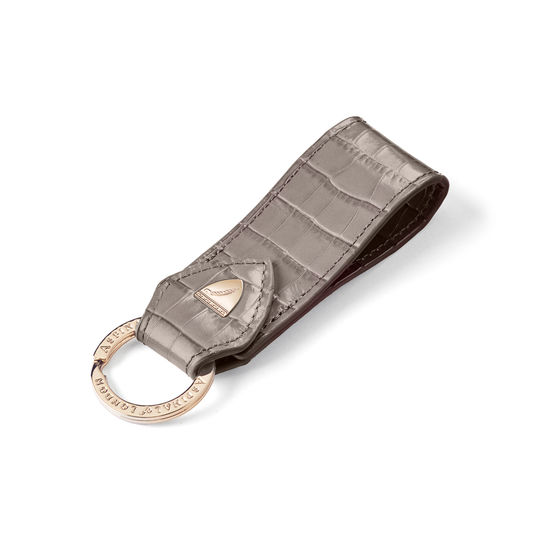 Small Leather Loop Keyring in Deep Shine Warm Grey Small Croc from Aspinal of London