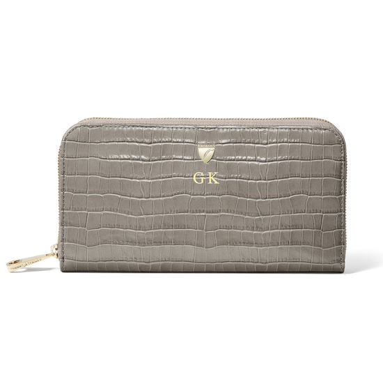 Continental Purse in Deep Shine Warm Grey Small Croc from Aspinal of London