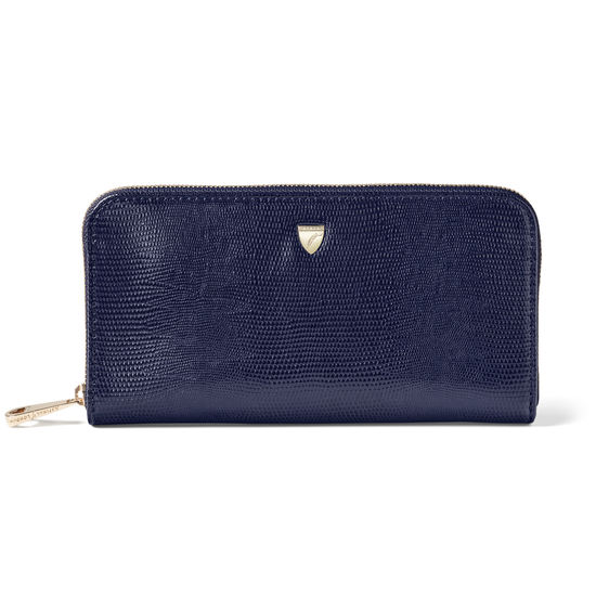 Continental Purse in Midnight Blue Silk Lizard from Aspinal of London