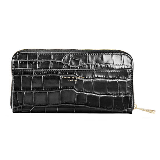 Continental Purse in Deep Shine Black Croc from Aspinal of London