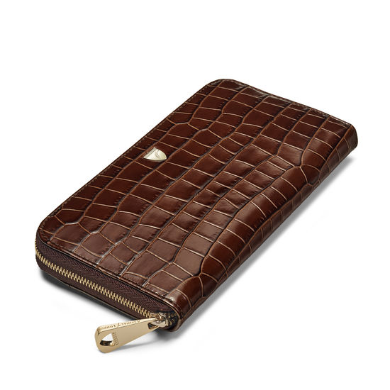 Continental Purse in Deep Shine Chestnut Small Croc from Aspinal of London