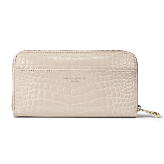 Continental Purse in Soft Taupe Patent Croc from Aspinal of London