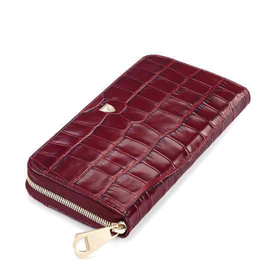 Continental Purse in Deep Shine Bordeaux Croc from Aspinal of London