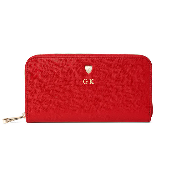 Continental Purse in Scarlet Saffiano from Aspinal of London