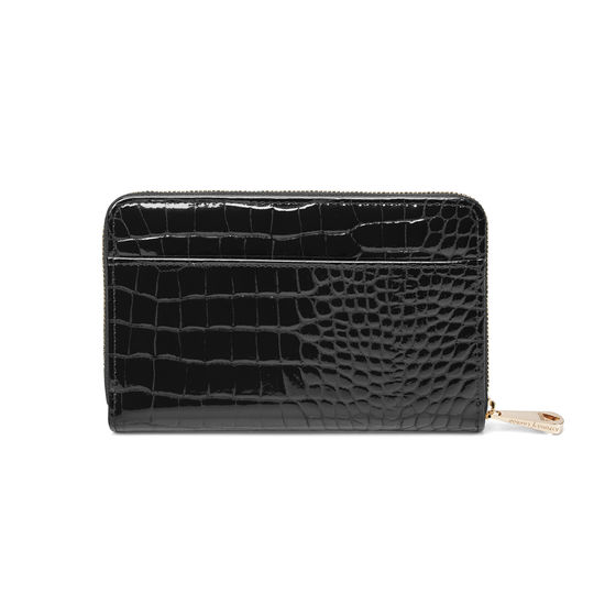 Midi Continental Purse in Black Patent Croc from Aspinal of London