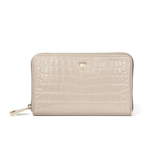 Midi Continental Purse in Soft Taupe Patent Croc from Aspinal of London