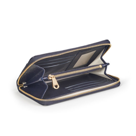 Midi Continental Purse in Midnight Blue Silk Lizard from Aspinal of London