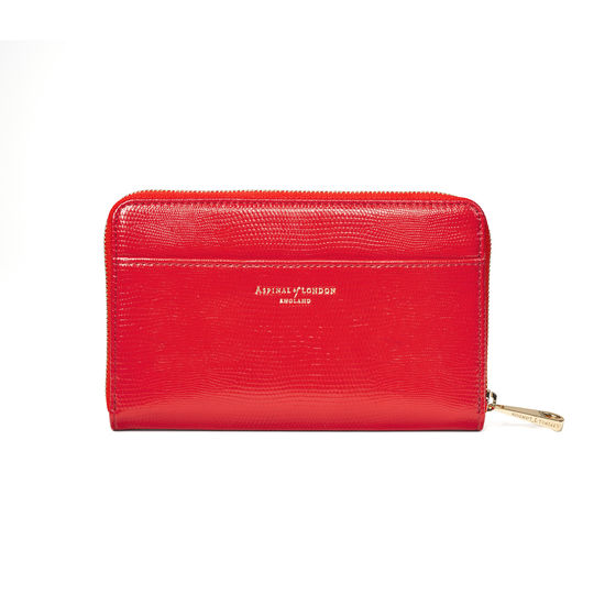 Midi Continental Purse in Scarlet Silk Lizard from Aspinal of London