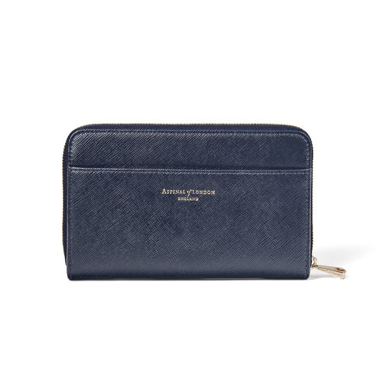 Midi Continental Purse in Navy Saffiano from Aspinal of London