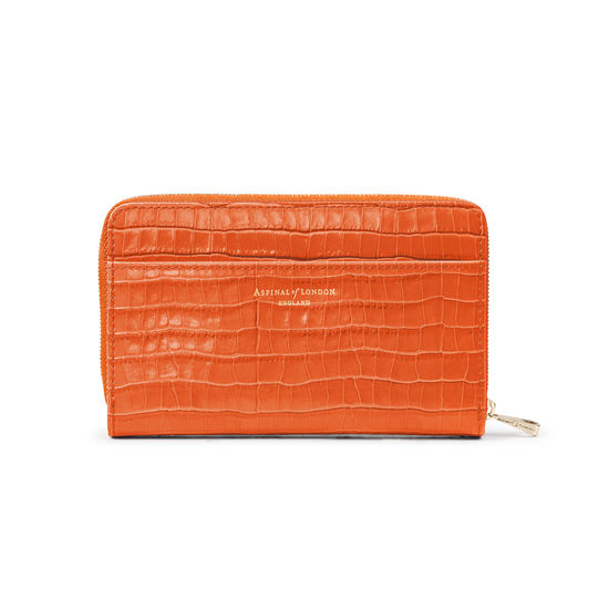 Midi Continental Purse in Deep Shine Marmalade Small Croc from Aspinal of London