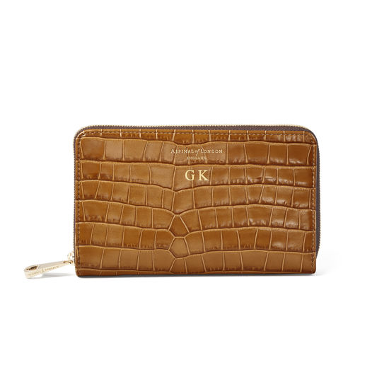Midi Continental Purse in Deep Shine Vintage Tan Small Croc from Aspinal of London