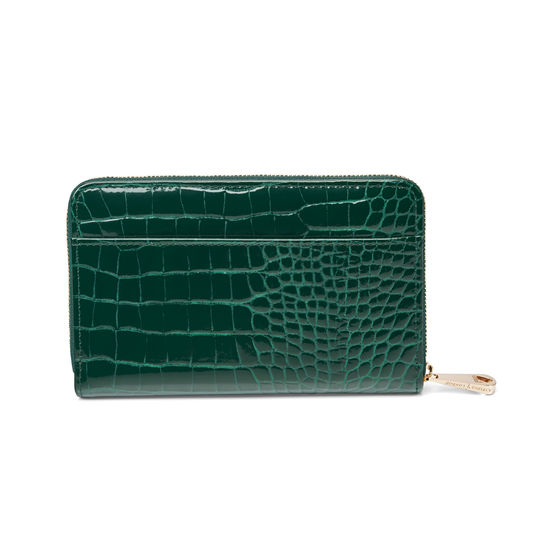 Midi Continental Purse in Evergreen Patent Croc from Aspinal of London