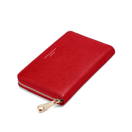 Midi Continental Purse in Scarlet Saffiano from Aspinal of London