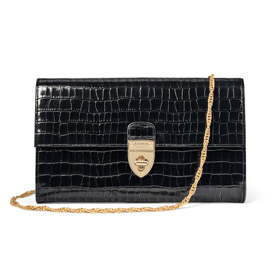 Mayfair Clutch in Deep Shine Black Small Croc from Aspinal of London