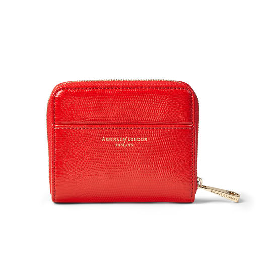 Slim Mini Continental Purse in Scarlet Silk Lizard from Aspinal of London